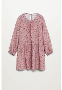 Różowa sukienka Mango Kids mini, z okrągłym kołnierzem, rozkloszowana #5