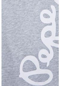 Szary t-shirt Pepe Jeans z nadrukiem, na co dzień