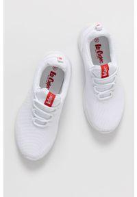 Białe sneakersy Lee Cooper na sznurówki, z cholewką