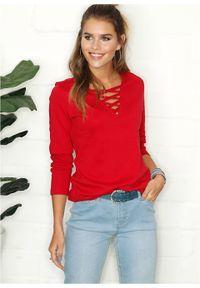 Shirt ze sznurowaniem bonprix ciemnoczerwony. Kolor: czerwony. Długość rękawa: długi rękaw. Długość: długie