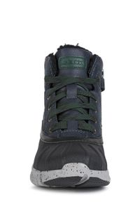 Niebieskie buty zimowe Geox na zimę, na sznurówki, z okrągłym noskiem, z cholewką