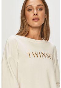 Kremowa bluza TwinSet z nadrukiem, klasyczna, bez kaptura