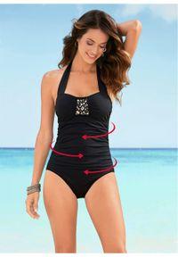 Czarny strój kąpielowy bonprix z aplikacjami, z wyjmowanymi miseczkami