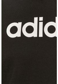 Czarna bluza Adidas z nadrukiem, z kapturem, casualowa, na co dzień
