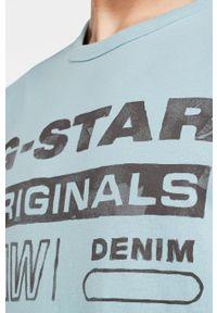 Niebieski t-shirt G-Star RAW casualowy, z okrągłym kołnierzem