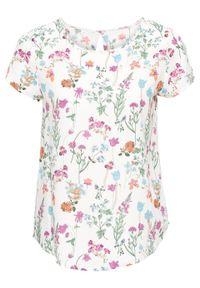 Biała bluzka bonprix krótka, w kwiaty, z krótkim rękawem
