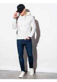 Ombre Clothing - Bluza męska z kapturem z nadrukiem B1216 - biała - XXL. Typ kołnierza: kaptur. Kolor: biały. Materiał: bawełna, poliester. Wzór: nadruk