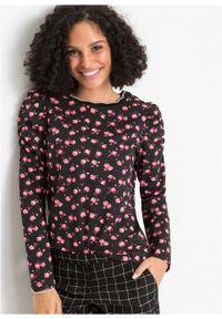Czarna bluzka bonprix w kwiaty, z długim rękawem