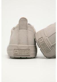 Szare buty sportowe Big-Star z cholewką, na sznurówki