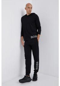 BOSS - Boss - Spodnie piżamowe. Kolor: czarny. Materiał: bawełna. Wzór: nadruk