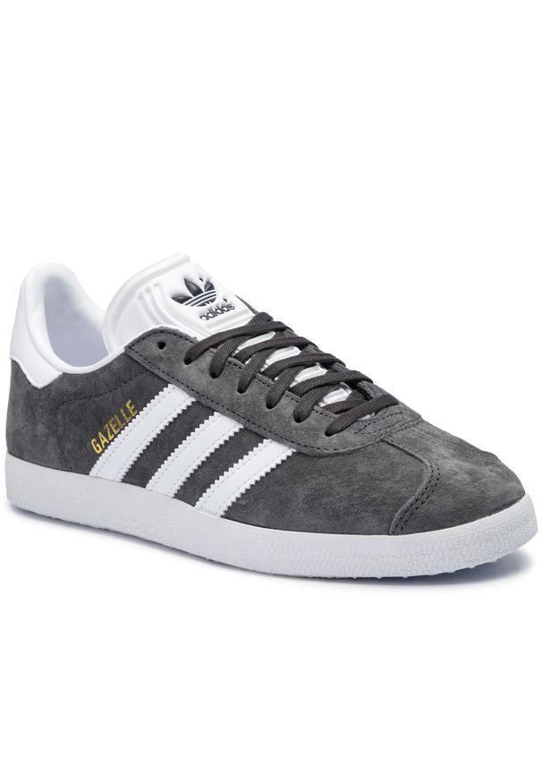 Szare półbuty Adidas z cholewką, w paski, z paskami