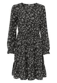 Sukienka bonprix czarno-biały w kwiaty. Kolor: czarny. Wzór: kwiaty