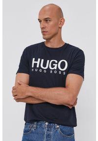 Hugo - T-shirt. Okazja: na co dzień. Kolor: niebieski. Wzór: nadruk. Styl: casual