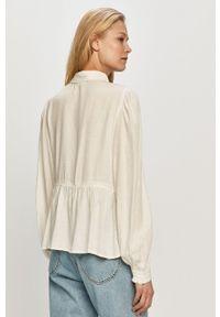 Vila - Bluzka. Kolor: biały. Materiał: tkanina, wiskoza, materiał. Długość rękawa: długi rękaw. Długość: krótkie. Wzór: gładki