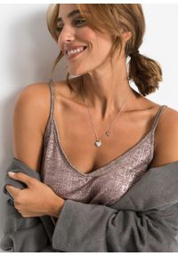 Łańcuszek z kryształami Swarovskiego® bonprix serce srebrny kolor rodowany - pozłacany czerwonym złotem -pozłacany #3