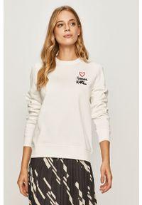 Biała bluza Karl Lagerfeld na co dzień, z długim rękawem, casualowa
