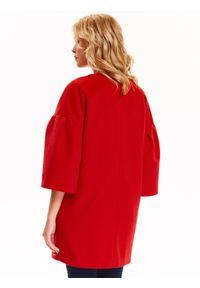TOP SECRET - Płaszcz damski zapinany z modnym dzwonkowym rękawem. Okazja: na co dzień. Kolor: czerwony. Długość rękawa: krótki rękaw. Sezon: jesień, zima. Styl: casual, elegancki #4