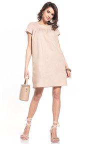 Tessita - Luźna Sukienka z Krótkim Rękawem - Cappuccino. Materiał: bawełna. Długość rękawa: krótki rękaw