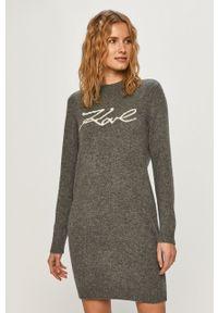 Szary sweter Karl Lagerfeld z długim rękawem, długi, na co dzień