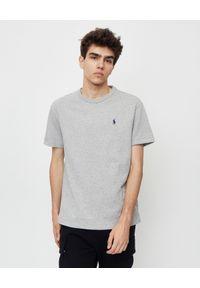 Ralph Lauren - RALPH LAUREN - Szary t-shirt z logo Regular Fit. Typ kołnierza: polo. Kolor: szary. Materiał: jeans, bawełna. Wzór: haft. Styl: klasyczny