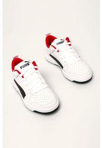 Białe buty sportowe Puma z cholewką, z okrągłym noskiem, na sznurówki