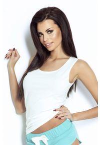 IVON - Bawełniana Koszulka Bokserka z Kokardką - Biała. Kolor: biały. Materiał: bawełna
