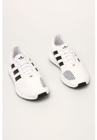 Białe sneakersy adidas Originals z cholewką, na sznurówki, do biegania, z okrągłym noskiem