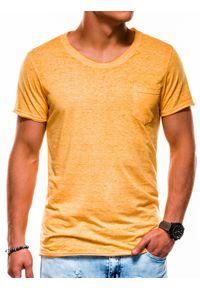 Ombre Clothing - T-shirt męski bez nadruku S1051 - żółty - XXL. Kolor: żółty. Materiał: bawełna, poliester