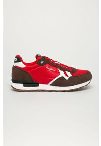 Czerwone sneakersy Pepe Jeans z cholewką, z okrągłym noskiem, na sznurówki