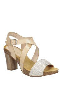 Beżowe sandały Marila na lato, w kolorowe wzory