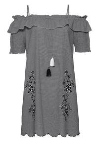Sukienka z haftem bonprix czarno-biały w kratę. Kolor: czarny. Wzór: haft
