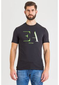 Czarny t-shirt Emporio Armani z nadrukiem, z okrągłym kołnierzem