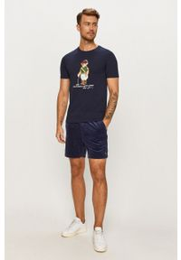 Niebieski t-shirt Polo Ralph Lauren z nadrukiem, polo, casualowy