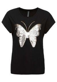 Shirt z cekinami bonprix czarny. Kolor: czarny. Wzór: aplikacja