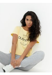 outhorn - T-shirt z nadrukiem damski. Materiał: bawełna, jersey. Wzór: nadruk