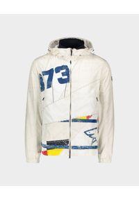 PAUL & SHARK - Biała kurtka z nadrukiem i kapturem. Kolor: czerwony. Materiał: materiał. Wzór: nadruk