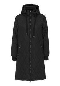 Czarny płaszcz Happy Holly na jesień, długi