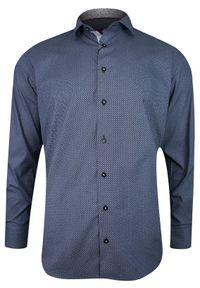 Niebieska elegancka koszula Rigon do pracy, z klasycznym kołnierzykiem, długa, w geometryczne wzory