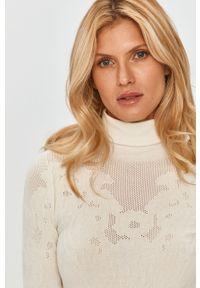 Biały sweter TwinSet klasyczny, długi, z długim rękawem