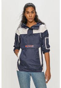 Niebieska kurtka columbia z kapturem, gładkie, na co dzień, casualowa