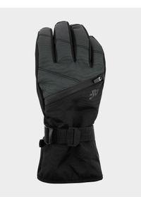 4f - Rękawice narciarskie męskie. Kolor: szary. Materiał: skóra, materiał, syntetyk. Technologia: Thinsulate. Sezon: zima. Sport: narciarstwo