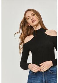 Czarny sweter Answear Lab gładki, z golfem, z długim rękawem, długi
