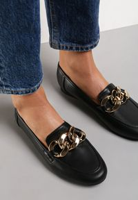 Renee - Czarne Mokasyny Phinista. Nosek buta: okrągły. Zapięcie: bez zapięcia. Kolor: czarny. Obcas: na obcasie. Styl: elegancki. Wysokość obcasa: niski