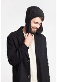 PaMaMi - Zimowa czapka, uszatka męska - Czarny. Kolor: czarny. Materiał: akryl. Sezon: zima