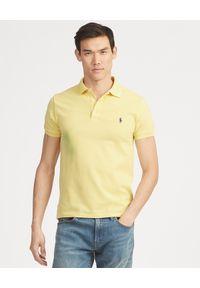 Ralph Lauren - RALPH LAUREN - Koszulka Polo Slim Fit. Typ kołnierza: polo. Kolor: żółty. Materiał: bawełna, prążkowany. Wzór: haft, aplikacja. Styl: klasyczny