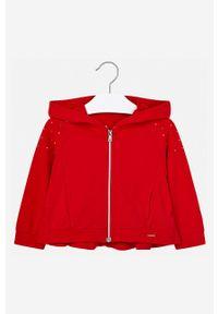 Czerwona bluza rozpinana Mayoral na co dzień, z aplikacjami, z kapturem, casualowa