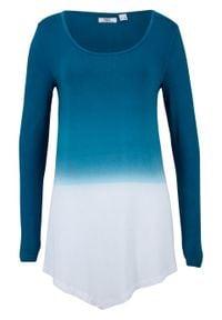 Shirt z dołem w szpic i efektem cieniowania, długi rękaw bonprix niebieskozielony morski - biały. Kolor: niebieski. Długość rękawa: długi rękaw. Długość: długie