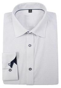 Biała elegancka koszula Grzegorz Moda Męska w kropki, do pracy, z klasycznym kołnierzykiem