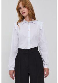 Silvian Heach - Koszula. Kolor: biały. Materiał: tkanina. Długość rękawa: długi rękaw. Długość: długie. Wzór: gładki