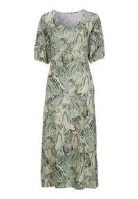 Cream Sukienka we wzory Lulla zamglona zieleń we wzory female zielony/ze wzorem S (36). Typ kołnierza: dekolt w serek. Kolor: zielony. Materiał: włókno, wiskoza, jersey. Długość rękawa: krótki rękaw